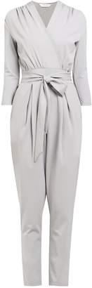 PAISIE - Peg Leg Wrap Jumpsuit with Tie Waist in Grey