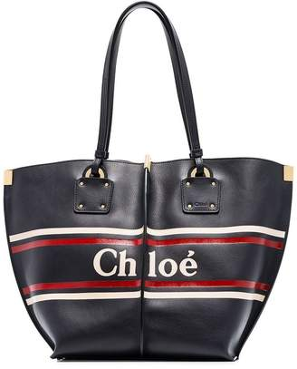 Chloé Logo Print Leather Tote Bag