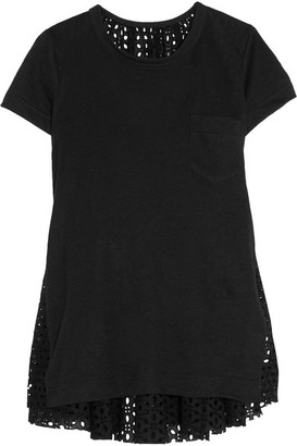 Sacai - Oversized Stretch-linen And Broderie Anglaise Top - Black $490 thestylecure.com