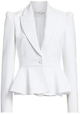 Michael Kors Women's Puff-Shoulder Peplum Jacket - Size 0