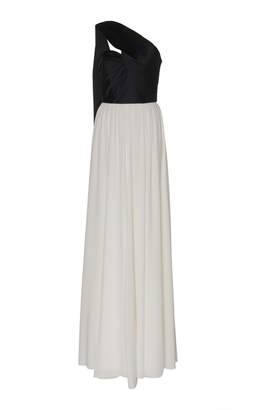 Andrew Gn Two-Tone Silk-Blend Satin Gown