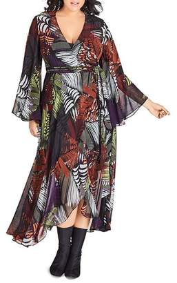 City Chic Plus Palm-Print Maxi Wrap Dress