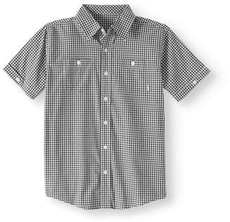 Beverly Hills Polo Club Big Boys' Woven Plaid Short Sleeve Shirt With Front Pockets