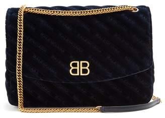 Balenciaga Bb Round L Velvet Bag - Womens - Navy