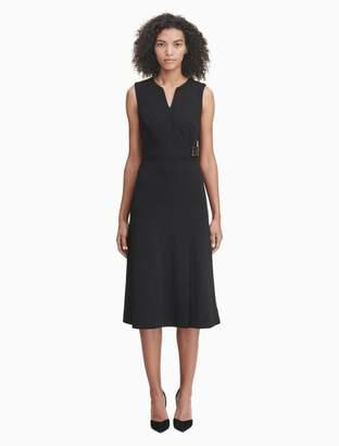 Calvin Klein v-neck logo high waist a-line dress