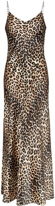 Ganni leopard print slip dress