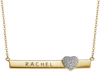 FINE JEWELRY Personalized Engraved Bar with Diamond Accent Heart Necklace