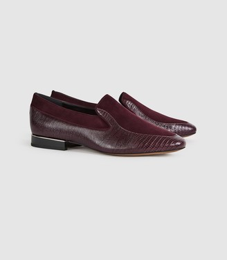 Reiss NINA LEATHER SLIP ON LOAFERS Pomegranate