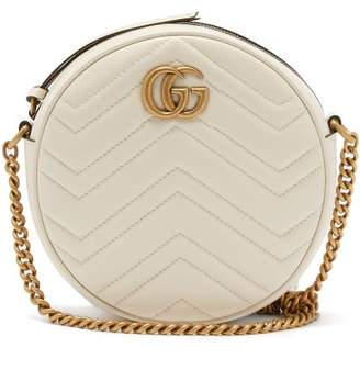Gucci Gg Marmont Circular Leather Cross Body Bag - Womens - White