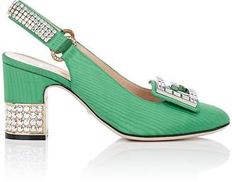Gucci Women's Embellished-Heel Silk Moiré Slingback Pumps