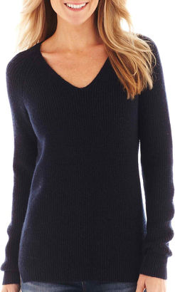 JCPenney jcp Long-Sleeve V-Neck Shaker Sweater $44 thestylecure.com