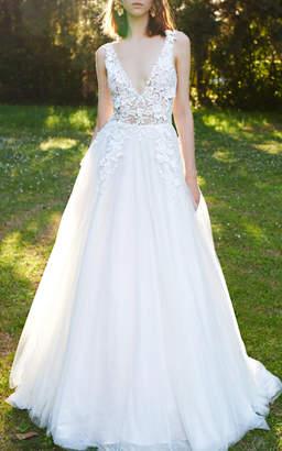 Costarellos Bridal Floral Mesh Ballgown