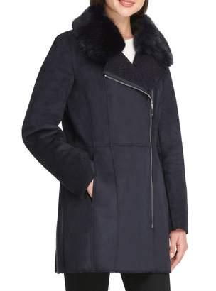 DKNY Faux Fur-Accented Faux Suede Coat
