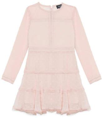 Bardot Junior Leyton Swiss Dot Dobby Long-Sleeve Dress, Size 8-16