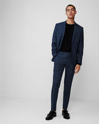 Express Extra Slim Blue Plaid Wool Suit Pant