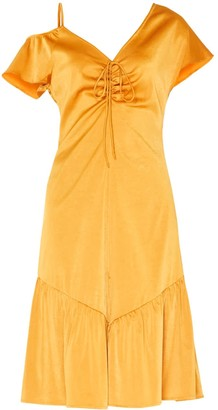 Paisie V-Neck Asymmetric Shoulder Dress With Gathered Detail In Rustic Orange