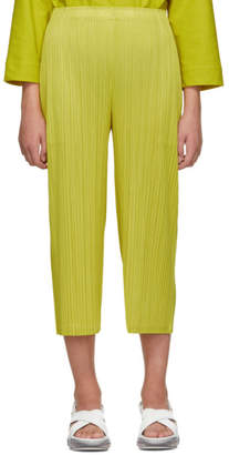 Pleats Please Issey Miyake Online Exclusive Yellow Pleated Wide-Leg Trousers