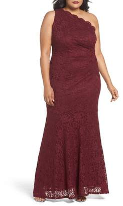 Decode 1.8 One Shoulder Glitter Lace Gown