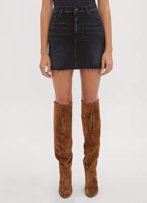 Saint Laurent Denim Raw Edge Mini Skirt in Black
