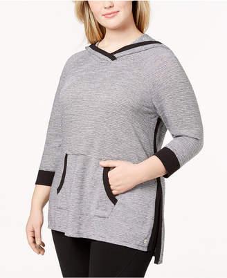 Calvin Klein Plus Size Micro-Stripe Hoodie