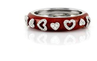 Hidalgo 18K White Gold with 0.17ct Diamond and Red Enamel Heart Ring Size 6.5