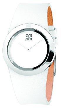 Am.pm. Am : Pmレディースpd104-l029 stainless-steelケースホワイトレザーストラップクォーツウォッチ