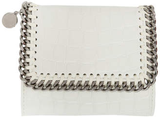 Stella McCartney Ivory Alter Croc Falabella Small Flap Box Wallet
