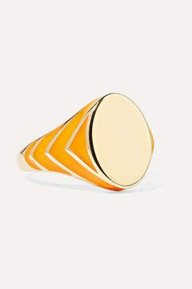 Alison Lou Stripe 14-karat Gold And Enamel Ring