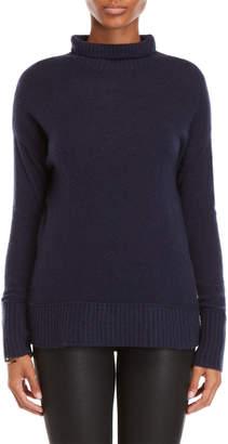 Vertical Design Cashmere Ribbed Trim Turtleneck Sweater