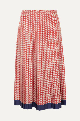 c93798569 Valentino Pleated Printed Silk-twill Midi Skirt - Red