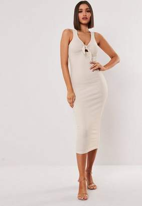 Missguided Stone Ribbed Tie Front Bodycon Midi Dress