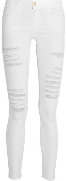 FRAME - Le Skinny De Jeanne Distressed Mid-rise Jeans - White