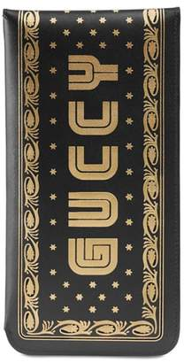 Gucci Guccy Logo Moon & Stars Leather Glasses Case