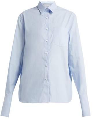 Summa - Exaggerated Cuff Cotton Shirt - Womens - Light Blue