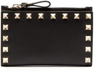 Valentino Rockstud leather cardholder and coin purse