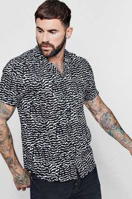 boohoo Zebra Print Short Sleeve Viscose Revere Shirt