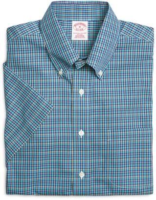 Brooks Brothers Supima Cotton Non-Iron Regular Fit Aqua Mini Check Short-Sleeve Sport Shirt
