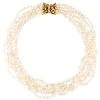 14K Pearl & Diamond Torsade Necklace