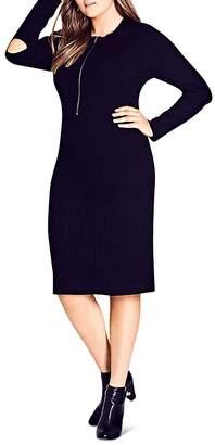 City Chic Zip-Front Knit Dress