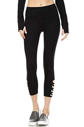 Mono B Women's Athletic Leggings with Criss Cross Cut Out at Side Black