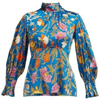 Peter Pilotto Botanical Print Hammered Silk Blend Blouse - Womens - Blue Multi