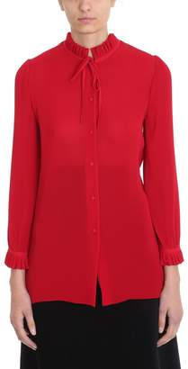 Balenciaga Pleated Red Cr?pe Shirt