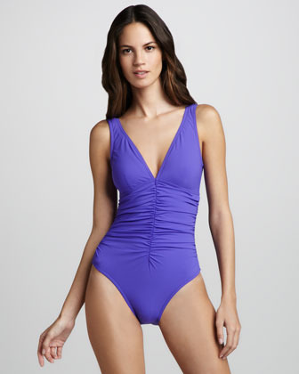 Karla Colletto Basic Ruch-Front One-Piece Swimsuit