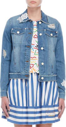 Love Moschino Lace Trim Jean Jacket
