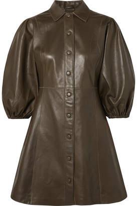 Ganni Leather Mini Dress - Army green