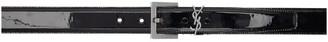 Saint Laurent Black and Silver Patent Square Monogramme Belt