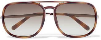 Chloé Nate Aviator-style Tortoiseshell Acetate Sunglasses