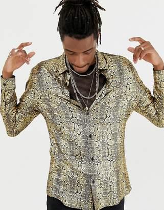 Jaded London long sleeve shirt in gold cocodile print foil shirt