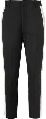 Alexander McQueen Black Cropped Slim-Fit Tapered Striped Wool-Blend Trousers
