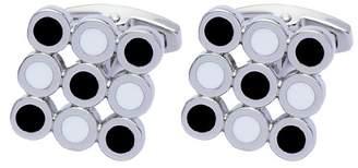 Square Mile Men's Rhodium Plated Base Metal, Black and White Enamel Cufflinks